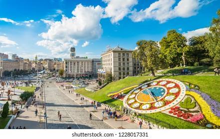 KIEV, UKRAINE - September 23, 2018:View of Maidan Nezalezhnosti, Independence Square at weekend in Kiev
