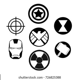 Kiev, Ukraine - September 25, 2017: Set of Avengers (Marvel) black logos printed on paper.