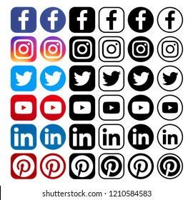 Kiev, Ukraine - September 25, 2018: Collection of different popular social media icons printed on white paper: Facebook, Instagram, Linkedin, Pinterest, Twitter, Youtube.