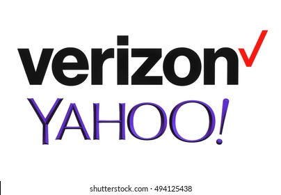 Kiev, Ukraine - September 26, 2016: Yahoo and Verizon Communications logos printed on white paper. Verizon Communications is a new owner of Yahoo services.