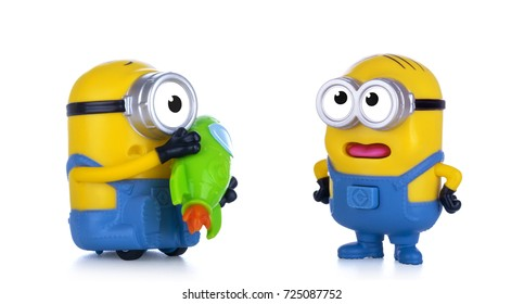 Kiev, Ukraine - September 28, 2017: Minions toys isolated on white. Minions is a character from Despicable Me 3, animated 3D film produced by Universal Pictures.