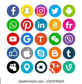 Kiev, Ukraine - September 29, 2017: Set of popular social media icons printed on white paper: Facebook, Instagram, Snapchat, Twitter, Apple,Youtube, Pinterest,, Amazon, Linkedin.