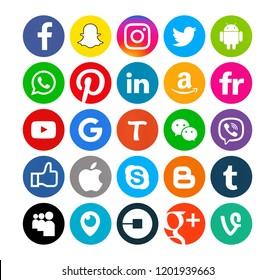 Kiev, Ukraine - September 29, 2017: Set of popular social media icons printed on white paper: Facebook, Instagram, Snapchat, Twitter, Apple,Youtube, Pinterest,, Amazon, Linkedin.