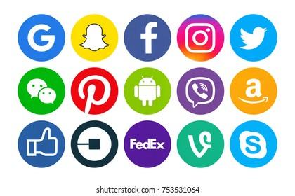 9b2fb54d951f Kiev, Ukraine - September 29, 2017: Set of popular social media icons  printed