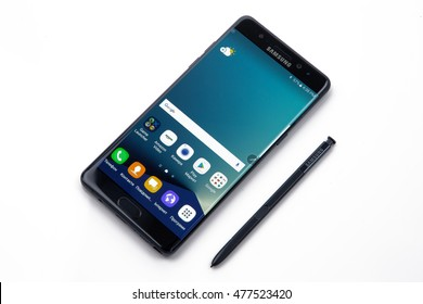 Kiev, Ukraine - September 3, 2016: Studio shot of a Samsung Galaxy Note 7 smartphone, with 12 mP Camera, Exynos 8890 Octa and 5.7 display, 2560 1440 resolution on white.
