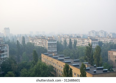 KIEV, UKRAINE �¢?? SEPTEMBER 3: Kiev Lisovoy district is in smoke from burning forest near Brovary. This morning would be sunny without this smoke.