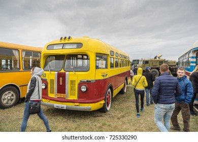 KIEV, UKRAINE -  SEPTEMBER 30: OldCarLand-2017 fest. Retro cars exhibition in Kiev Aviation Museum.