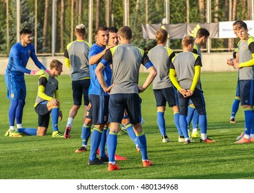 Kiev, Ukraine - September 4, 2016: Andriy Shevchenko and his players during an open training session before the match of FIFA World Cup qualification 2018 at Dynamo training base.