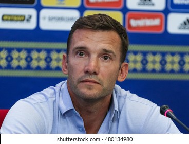 Kiev, Ukraine - September 4, 2016: Andriy Shevchenko at a press conference on the eve of the match of FIFA World Cup qualification 2018.