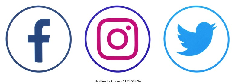 KIEV, UKRAINE -September 4, 2018: This is a photo collection of popular social media logos printed on paper: Facebook, Twitter, LinkedIn, Pinterest, Instagram, Youtube, Line and other