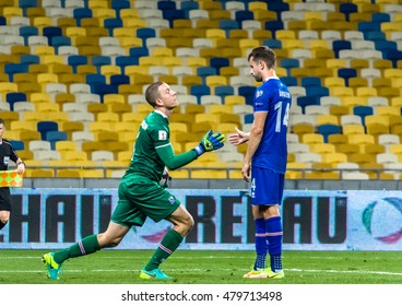 KIEV, UKRAINE - SEPTEMBER 5, 2016: Hannes HALLDORSSON and Kari ARNASON of ISLAND during a match of FIFA World Cup qualification in 2018 against the National team of Ukraine at the NSC Olympiysky