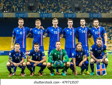 KIEV, UKRAINE - SEPTEMBER 5, 2016: Iceland team photo before the match of FIFA World Cup 2018 qualification against Ukraine at the NSC Olympiysky stadium