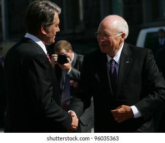 KIEV, UKRAINE - SEPTEMBER 5: United States Vice President Dick Cheney, right,  meets Ukraine's President Viktor Yushchenko in Kiev, Ukraine, on Friday, September 5, 2008.