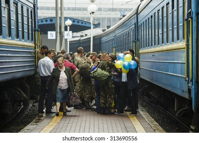 Kiev, Ukraine - September 6, 2015: With the area ATO demobilized soldiers of the 44th Artillery Brigade to railway in Kiev