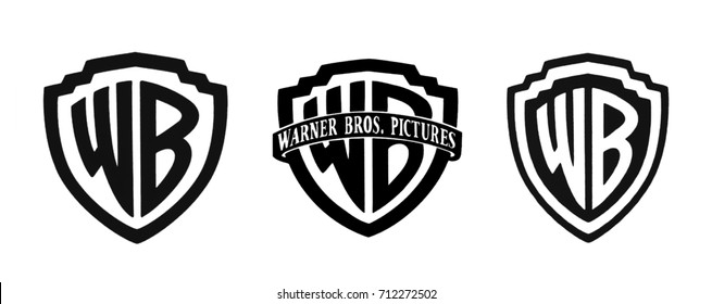Kiev, Ukraine - September 6, 2017: Set of the famous film studios logos - Warner Brothers, printed on paper and placed on a white background.