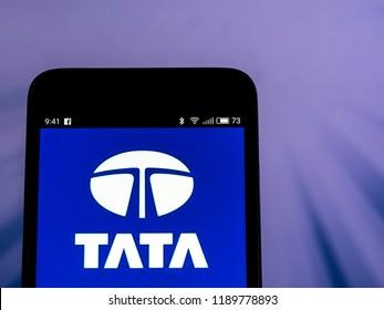 KIEV, UKRAINE - Set 27, 2018: Tata Motors logo seen displayed on smart phone. Tata Motors Limited is an Indian multinational automotive manufacturing company.