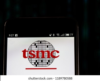 KIEV, UKRAINE - Set 27, 2018: TSMC logo seen displayed on smart phone. Taiwan Semiconductor Manufacturing Company, Limited  is world's largest dedicated independent (pure-play) semiconductor foundry