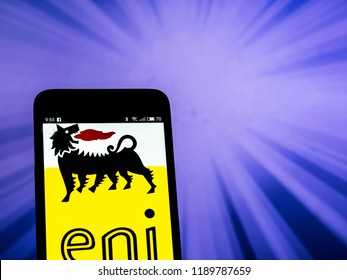 KIEV, UKRAINE - Set 27, 2018: Eni S.p.A. logo seen displayed on smart phone. Eni S.p.A. is an Italian multinational oil and gas company headquartered in Rome.