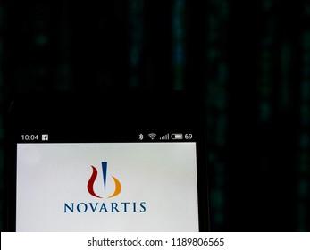 KIEV, UKRAINE - Set 27, 2018: Novartis logo seen displayed on smart phone.  Novartis International AG is a Swiss multinational pharmaceutical company