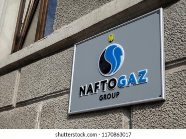 KIEV, UKRAINE - Set 3, 2018: Signboard NaftoGaz Group