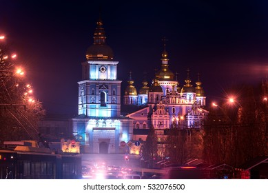 Kiev, Ukraine: St Michael's Golden-Domed Monastery and Cathedral at night