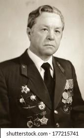 KIEV, UKRAINE, USSR - CIRCA 1984: An antique photo shows studio portrait of a Soviet officer, a veteran of World War II.