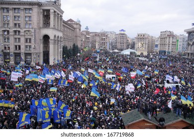 KIEV, UKRAINE-DEC. 1, 2013: Ukraine, Kiev, Independence Square.  Protest against night crackdown of the students action against  the not signing the association with the EU.