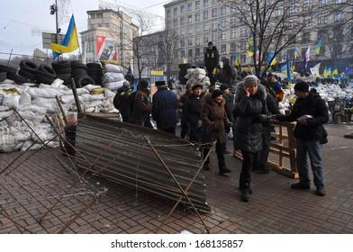 KIEV, UKRAINE-DECEMBER 15: Barricade on Pro-European mass-meeting in Kiev   on December, 15, 2013, Kiev, Ukraine