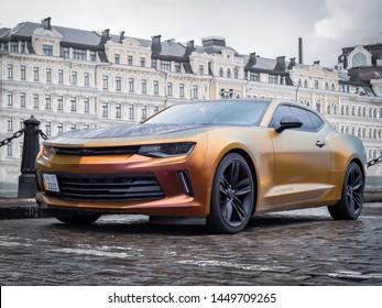 KIEV, UKRAINE-JULY 11, 2019: Chevrolet Camaro (sixth generation) at the city streets.