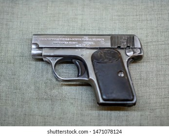 KIEV, UKRAINE-JULY 23, 2019: 1906 Browning pistol FN Model 1906 (FN Model 1905,  Colt Model 1908 Vest Pocket)