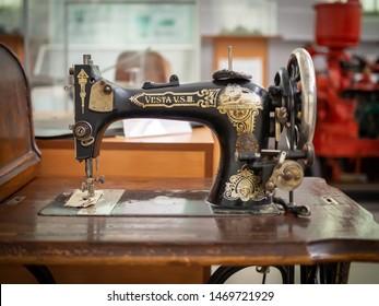 KIEV, UKRAINE-JULY 23, 2019: 1930's LO Dietrich Vesta VS III Sewing Machine in the Polytechnic Museum at Ukrainian National Technical University