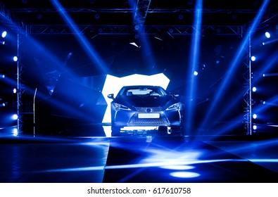 KIEV, UKRAINE-MARCH 10, 2017: Lexus LC 500 Sports Coupe on display at the auto show KIEV, UKRAINE. Presentation of the new model Lexus car - Lexus LC 500.