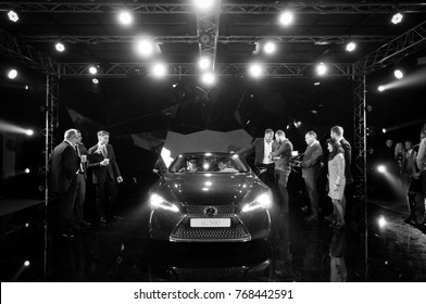 KIEV, UKRAINE-MARCH 10, 2017: Lexus LC 500 Sports Coupe on display at the auto show in KIEV. Presentation of the new model Lexus car - Lexus LC 500. Black and white reportage shooting of a car event.