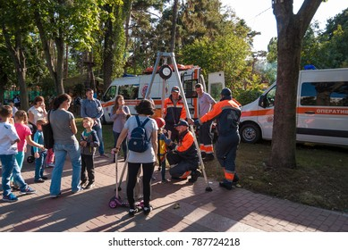 Kiev, Ukraine-September 16, 2017:Holding open performances of the work of rescuers in the city park.