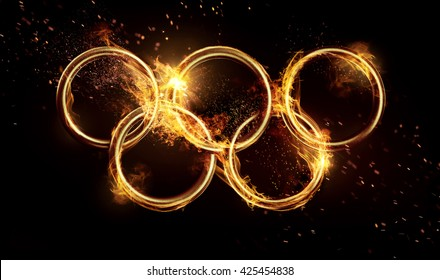KIEV, Uraine - MAY 19, 2016: Olympic rings in the flame. Editorial image
