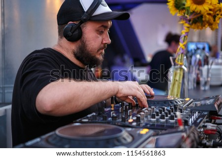KIEV 10 JULY 2018 DJ Panchez Headphones Plays Stock Photo