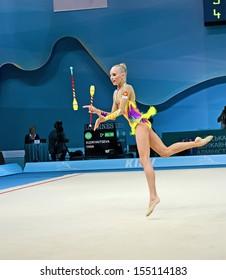 KIEV-AUG 29: Yana Kudryavtseva (Russia) in action during the 32nd Rhythmic Gymnastics World Championships on August 29, 2013 in Kiev, Ukraine.