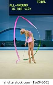 KIEV-AUG 30: Yana Kudryavtseva (Russia) in action during the 32nd Rhythmic Gymnastics World Championships on August 30, 2013 in Kiev, Ukraine.