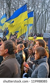 KIEV-NOV 24:79th anniversary of Holodomor marks in Kiev,Ukraine on November 24,2012. Holodomor - Josef Stalin-ordered famine that killed millions of Ukrainians in 1932-33. People with candle in hands.