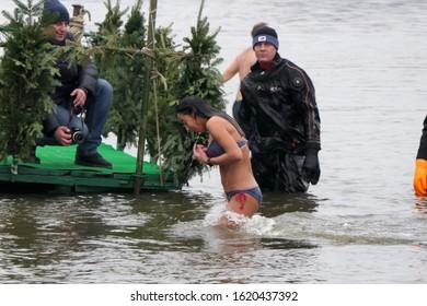Kiev/Ukraine, 01.19.2020: Winter bathing in the cold water, Epyphany ceremony