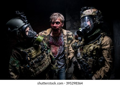 KIEV,UKRAINE - February 20 : Actors as zombies and soldiers take part in a role play game in zombie theme  in Kiev,Ukraine on February 20,2016.