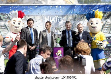 KIEV,UKRAINE, MAY 12: presentation Cup Henri Delaunay UEFA European Football Championship in Kiev, Ukraine May 12, 2012 Balloon shape cups European Football Championship