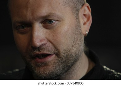KIEV,UKRAINE - November 15, 2015: Kiev's Mayor candidate Boryslav Bereza speaks to media after casting his vote at a polling station during the second round of mayoral election in Kiev