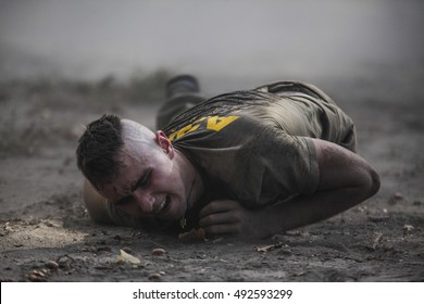 """KIEV,UKRAINE - October 2, 2016: Recruits regiment """"Azov"""" during the final exam """"the Spartan Azov"""" in the selection camp in Kiev."""