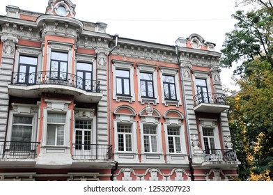 Kiev/Ukraine - October 9, 2018: Profitable house, built at the end of the 19th century, Lutheran Street 33. As a child, the famous writer Konstantin Paustovsky lived in the house.