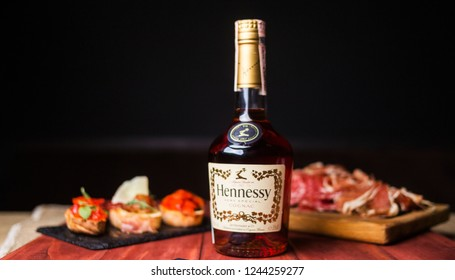 Kiev,Ukraine - SEPT., 2018: Bottle of Hennessy, a brand of famous cognac from Cognac, France