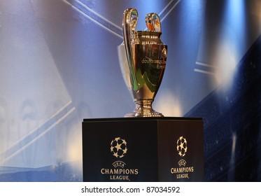 KIEV,UKRAINE SEPT. 30:UEFA Champions League Trophy Tour 2011 in Kiev, Ukraine September 30,2011.The UEFA Cup - trophy awarded annually by UEFA to the football club that wins the UEFA Europa League