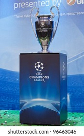 KIEV,UKRAINE SEPTEMBER 30 :UEFA Champions League Trophy Tour in Kiev, Ukraine September 30,2011. UEFA Cup - trophy awarded annually by UEFA to the football club that wins the  UEFA Champions League