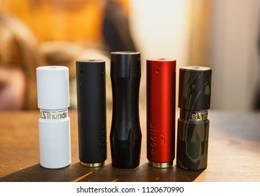 KIEV,UKRAINE-14 APRIL,2018:New mech mod vaping devices on sale at Vape Expo event.Buy new electronic cigarette vaporizer for smoking ejuice liquid.Ecig gadget for smokers