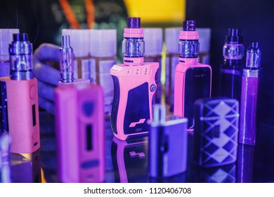 KIEV,UKRAINE-14 APRIL,2018:New vaping devices on sale at Vape Expo event.Buy new electronic cigarette vaporizer for smoking ejuice liquid.Ecig gadget for smokers